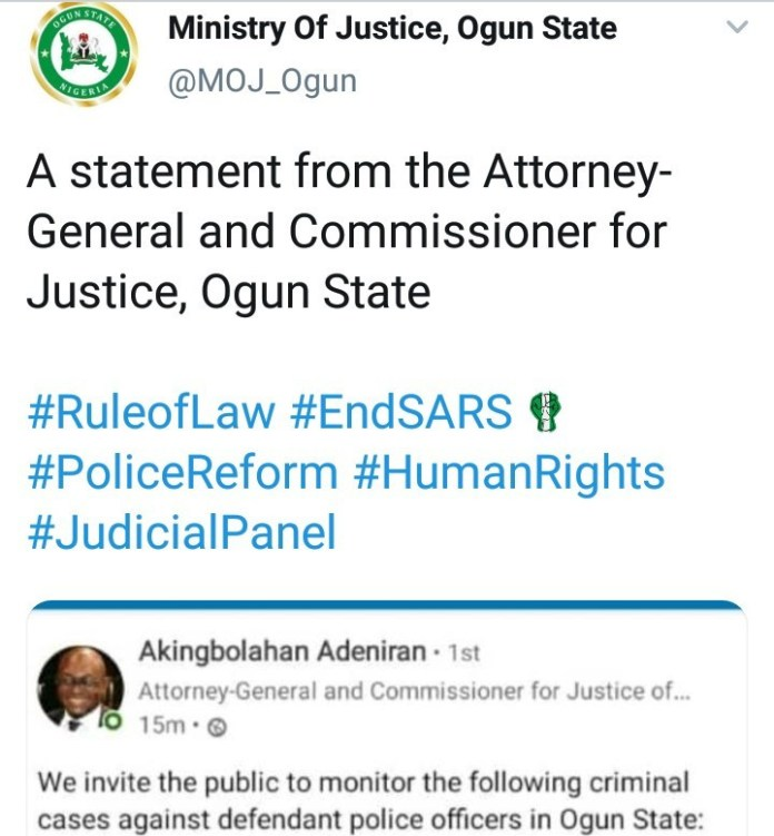Ogun State Government invites public to monitor criminal cases against defendant police officers
