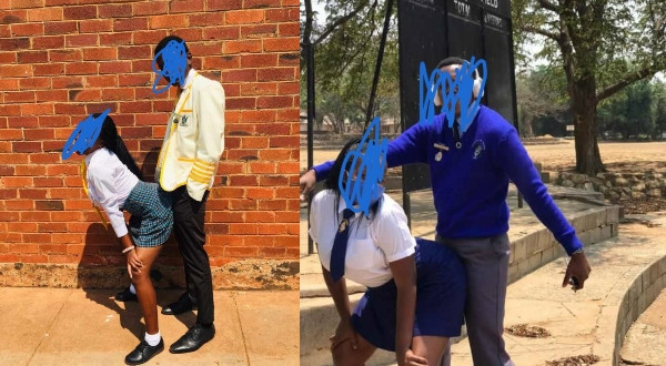 Pictures Of Zimbabwean students posing for s3xually suggestive in school while teachers are on strike spark concern
