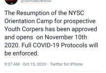 The NYSC Camps To Reopen On 10 November