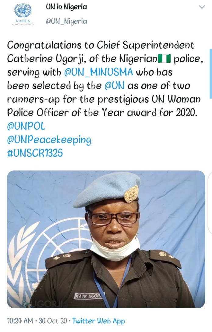 United Nations Recognizes CSP Catherine Ugorji For UN Woman Police Officer Of The Year Award For 2020