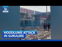 Video Of ATMs, Shops And Banks Destroyed By Hoodlums In Surulere Lagos