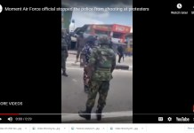 Video Showing A Military Officer Confronting Policemen Shooting At Unarmed Protesters