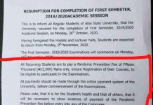 Abia State University ABSU Demanding N15,000 From Students Calling It Pandemic Prevention Fee