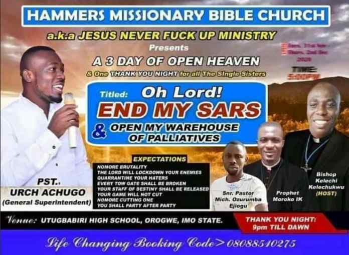 End My SARS And Open My Warehouse Of Palliatives - HAMMERS MISSIONARY BIBLE CHURCH Poster