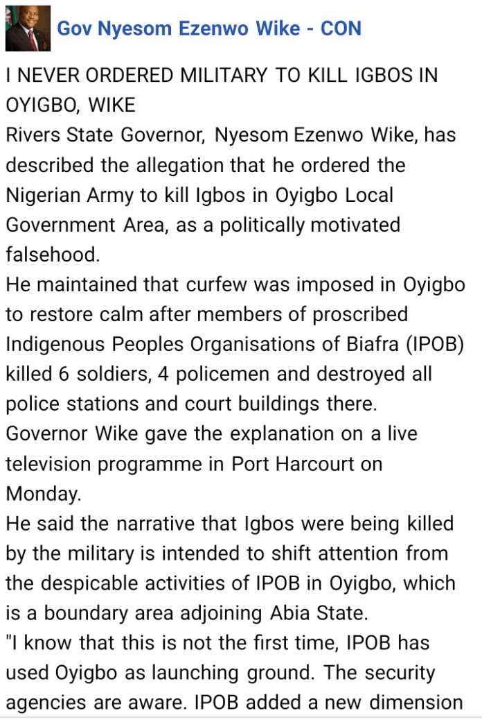 Rivers State Governor Wike On Oyigbo Killings- I Never Ordered Military To Kill Igbos In Rivers