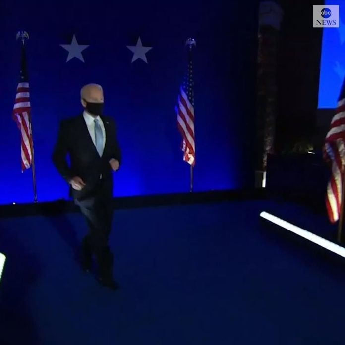 Video Of US President-elect Joe Biden Jogging Out Onto The Stage To Make His Victory Speech