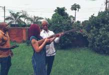 Video Of billionaire husband Ned Nwoko Teaching Regina Daniels How To Shoot A Gun