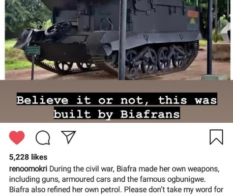 Biafrans Built This Armoured Cars During The Civil War - Reno Omokri Blasts Nigerian Government
