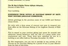 Bishop Adepoju Suspended For Having Sex With Another Reverend's Wife