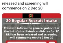 The Nigerian Army Releases List Of Shortlisted Candidates For 80RRI And Screening Starts 2nd Dec 2020