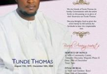 A Man Tunde Thomas aka Tunde Gentle Dies Of Heart Attack After Discovering The True Paternity Of His Kids