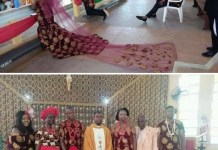 A Nigerian couple weds in Igbo traditional attire known as Isiagu