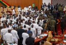 Ghanaian soldiers Steps In To Stop Parliament Clash Ahead Of Swearing-in