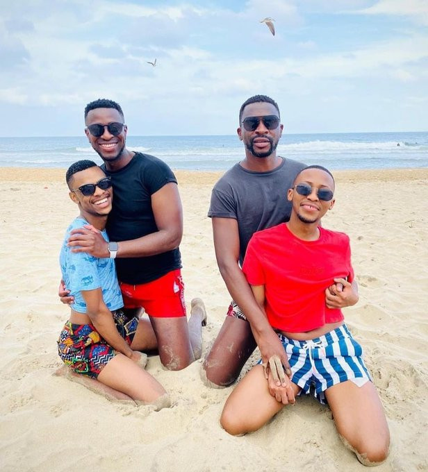 Photo of Two South African men flaunting their Gay lovers at the beach
