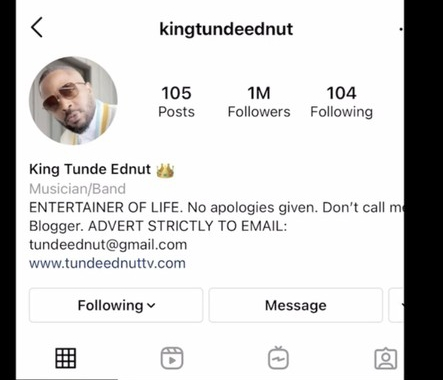 Tunde Ednut's 2nd Page Deleted Again By Instagram After Hitting 1M Followers In 3 Days