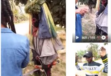 Video Of A Lady Who Converted A Masquerader To Christianity And Makes Him Remove His Costume