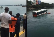 Video Of Tourist bus that plunge into the Indian Ocean at Likoni Crossing Channel in Kenya
