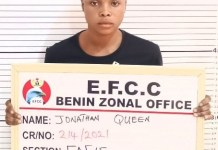 24 Year Old Girl Jonathan Queen Arrested By EFCC For Internet Fraud In Delta State
