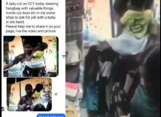 Video Of A Woman Carrying A Baby Caught On CCTV Stealing A Purse