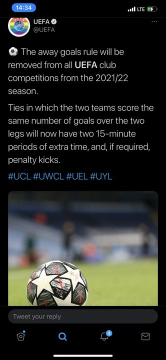 Away Goal Rule Will Be Removed Next Season - UEFA Announces