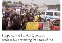 """No retreat, no surrender!"""", """"Oodua Nation - Sunday Igboho's Supporters Protest In Ibadan Over DSS Raid"""
