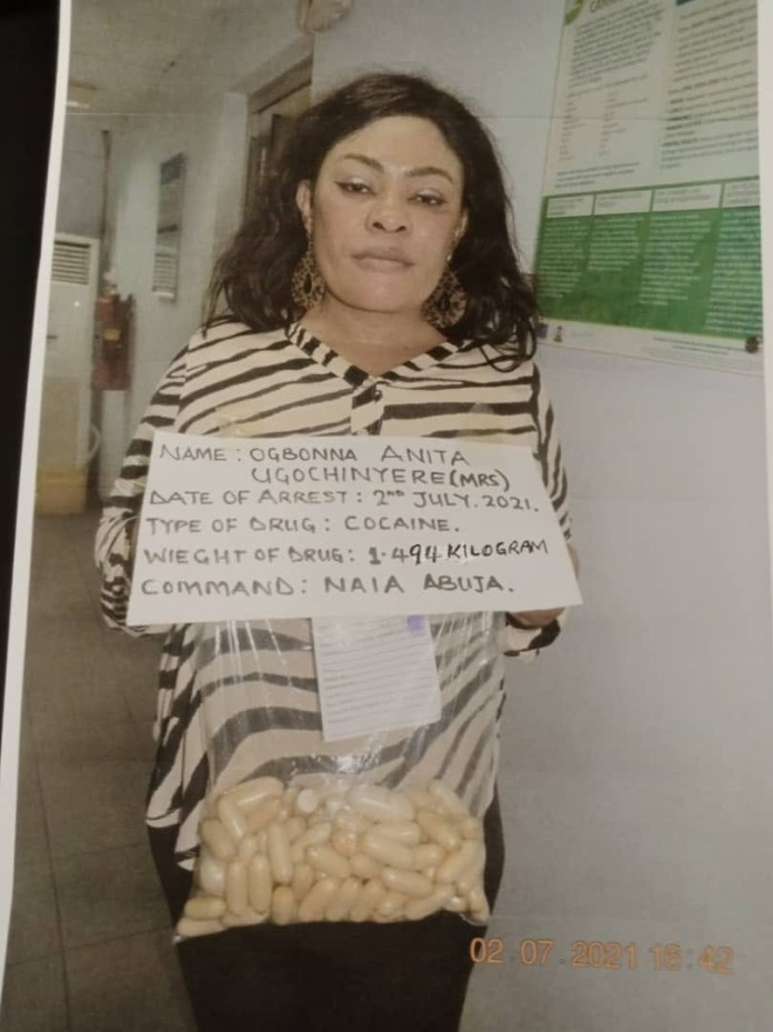 Video Of Nigerian Mum-of-3 Mrs Anita Ugochinyere Ogbonna With 100 Wraps Of Cocaine In Her Private Part Nabbed By NDLEA