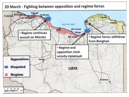 Briefing slide showing a representation of coalition strikes against Gadhafi's ground maneuver forces ~10 miles south of Benghazi.