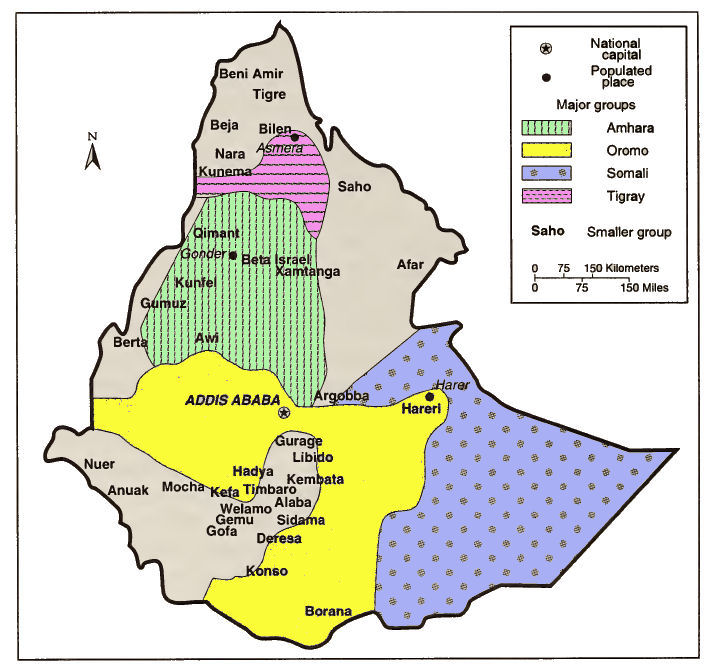 Image result for map ethnic groups in Ethiopia