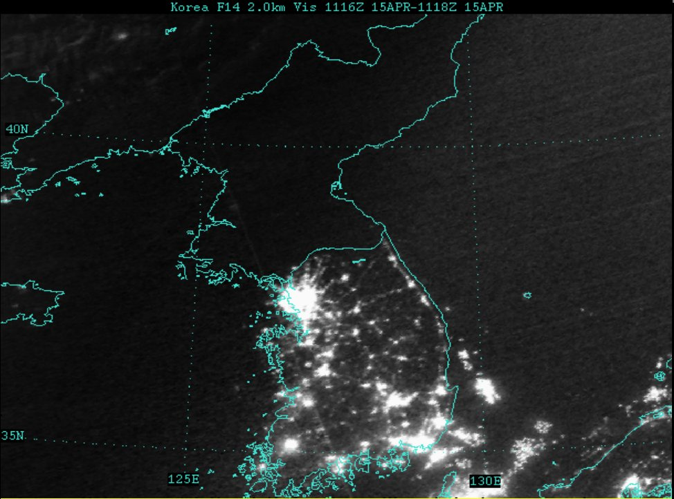 Image result for korean peninsula at night