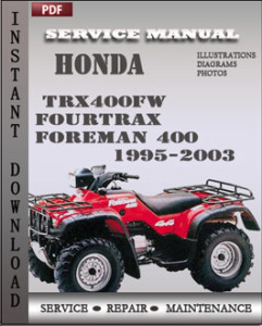 Honda TRX400FW Fourtrax Foreman 400 19952003 Service Manual Download | Repair Service Manual PDF