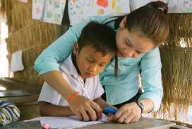Local teacher and student Cambodia