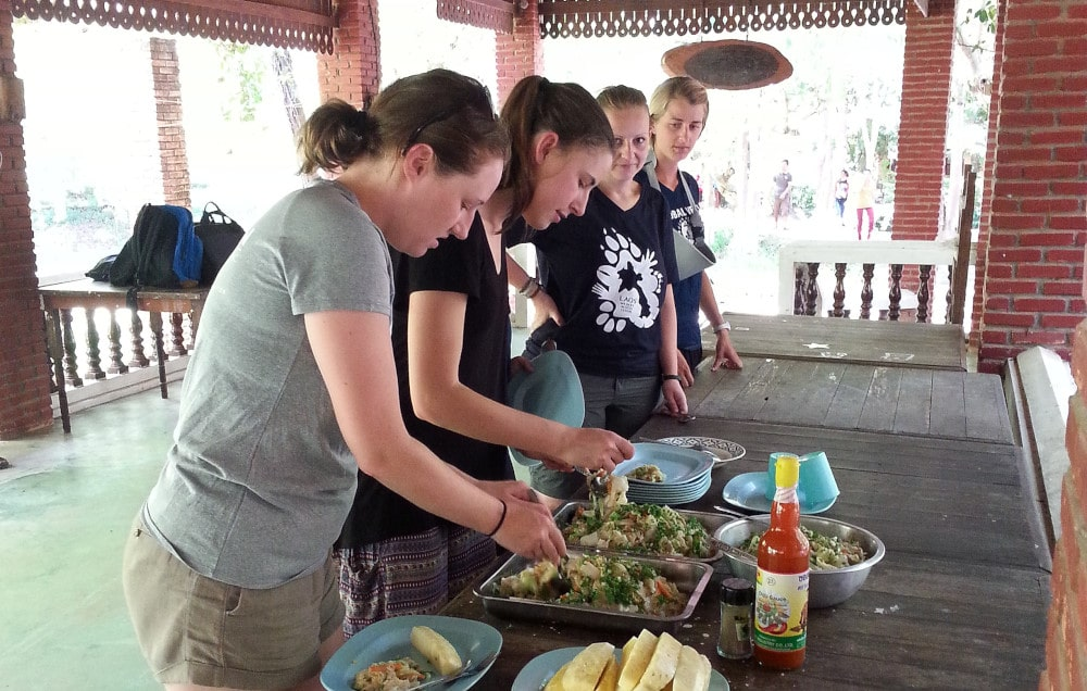 Dinner time for volunteers at the Laos Wildlife Rescue project
