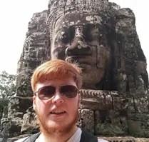 Volunteer at Bayon temple, Cambodia