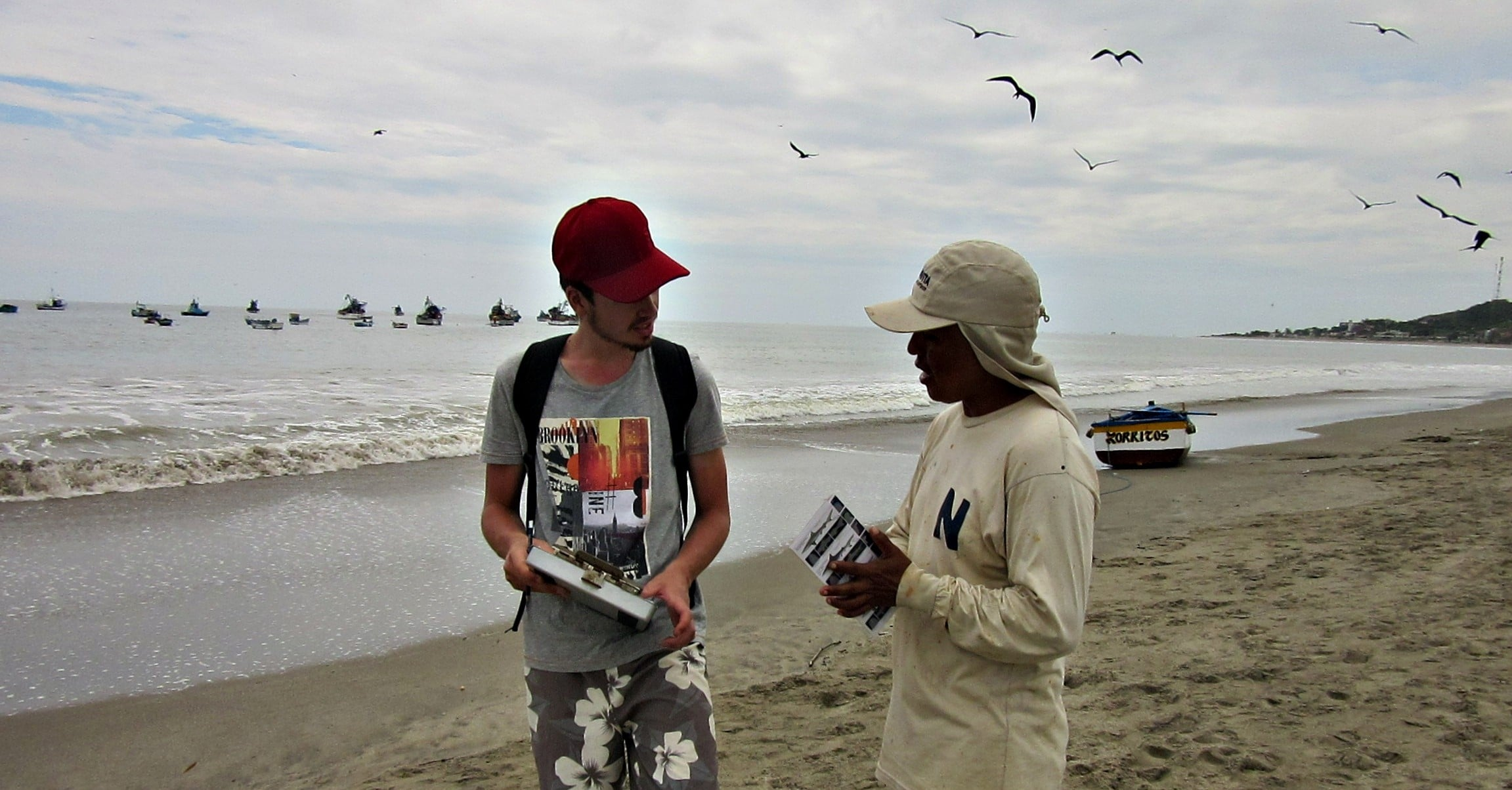 Volunteers working along local staff at Peru Marine Project