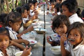 Group breakfast at community project in Cambodia