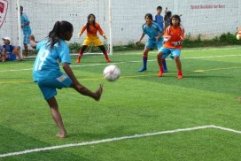 Girls playing sports in Cambodia