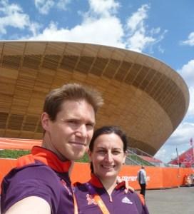 Tim Budd and Lynne Taylor outside the Velodrome London Olympics Sports Massage and Physiotherapists