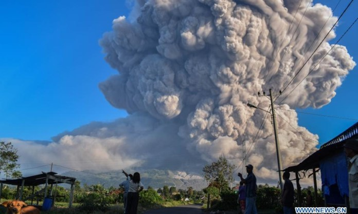 Indonesia S Mt Sinabung Erupts Again Spewing 5 000 Meter High Ash Clouds Global Times