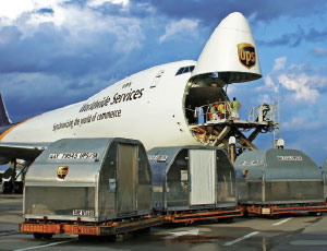 NOTHING TO TURN YOUR NOSE UP AT: The standard 747-400 Freighter, like this UPS-owned craft, can carry 124 tons of cargo up to 4,450 nautical miles, according to Boeing.