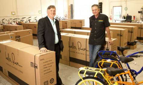 RIDING HIGH DiCostanzo and Pedego partner Tom Sherry have enjoyed the luxury of international distributors approaching them for partnerships, and have found consumers in 12 foreign countries so far, accounting for 22 percent of their sales.