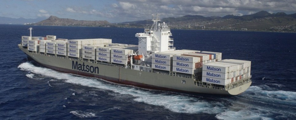Matson's China service moves shipments of export cargo and import cargo in international trade.