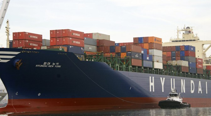 Hanjin bankruptcy affecting shipments of export cargo and import cargo in international trade.