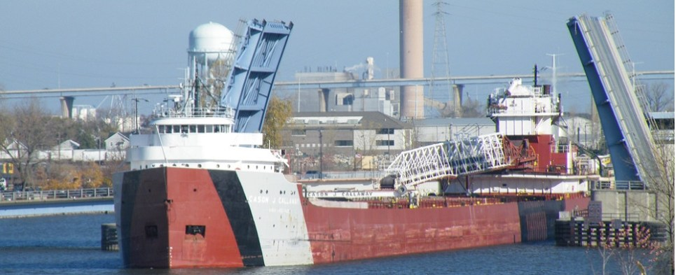 St. Lawrecne Seaway is carrying more shipments of export cargo and import cargo in international trade.