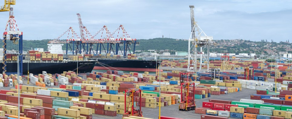 Durban port is handling more shipments of export cargo and import cargo in international trade.