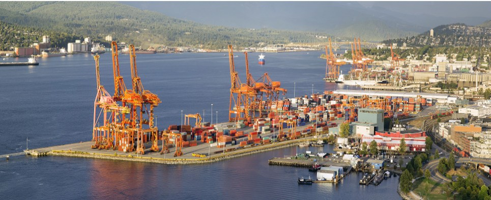 Port of Vancouver handles shipments of export cargo and import cargo in international trade.