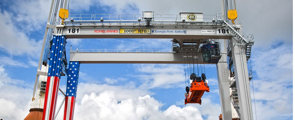 Georgia Ports acquired new crane to handle shipments of export cargo and import cargo in international trade.