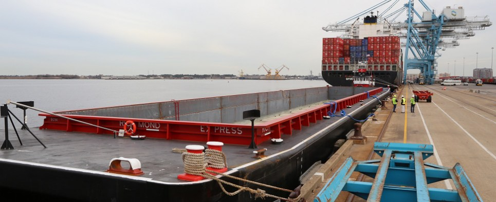Port of Virginia is using barge to transport shipments of export cargo and import cargo in international trade.