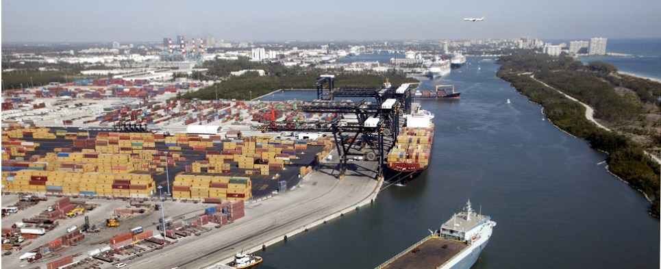 Port Everglades and MIA handling tansshipments of export cargo and import cargo in international trade.