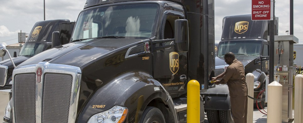 UPS is using alternative fuels on vehicles carrying shipments of export cargo and import cargo in international trade.