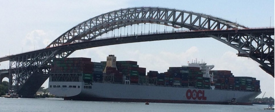 Largest containership ever at port of NYNJ carried shipments of export cargo and import cargo in international trade.